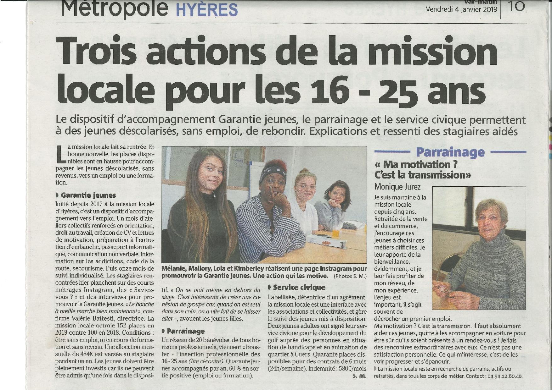 La Mission Locale avec la Garantie Jeunes, le parrainage et le service civique
